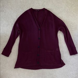 AE Button Up Cardigan (Dark Burgundy/Purple)